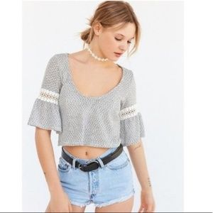 Kimchi Blue Crop Top With Bell Sleeves